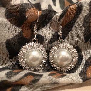 Pearl & White Rhinestone Earrings